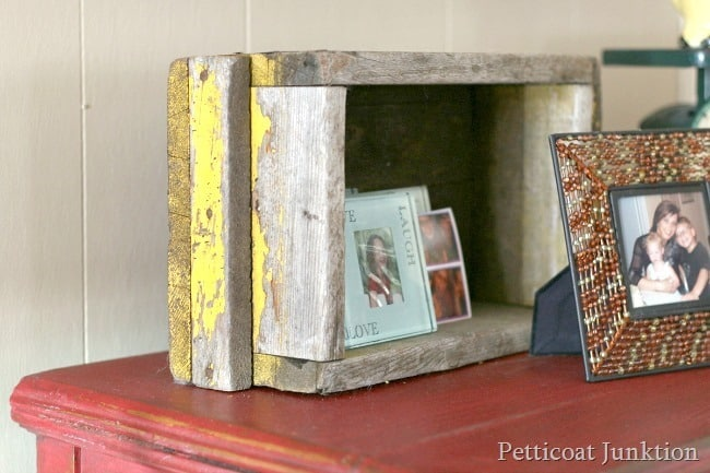 yellow reclaimed wood box Petticoat Junktion home decor