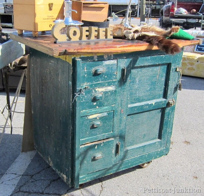 antique wood cabinet with chippy paint