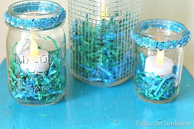 Turquoise Mason Jar Candleholder Petticoat Junktion