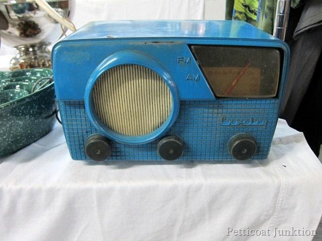 Vintage Radio Beautiful Blue Color Flea Market Shopping with Petticoat Junktion
