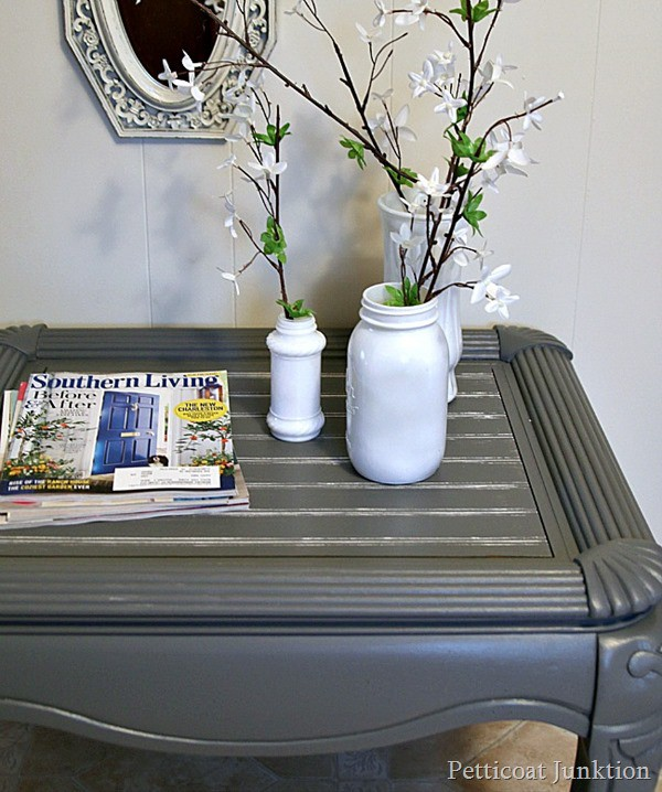 cut a beadboard table top and paint it gray Petticoat Junktion