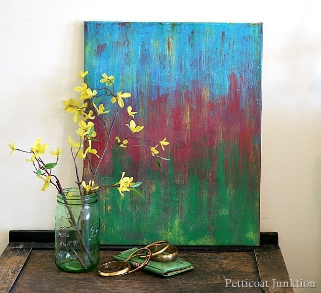 diy abstract art painting Thrift Store Decor Makeover Challenge Petticoat Junktion