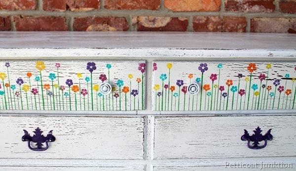 flower stenciled white dresser drastic furniture makeover Petticoat Junktion