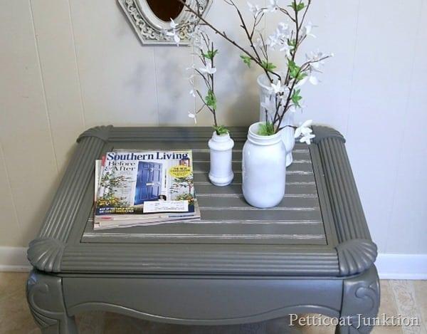 gray beadboard table