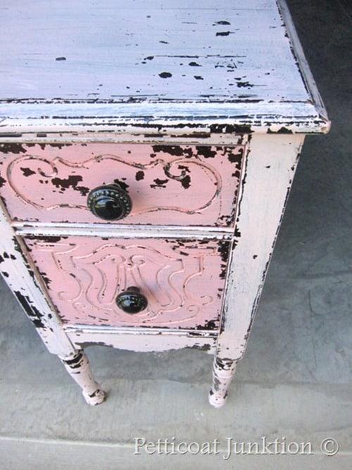 pink dresser drastic furniture makeover Pettcoat Junktion