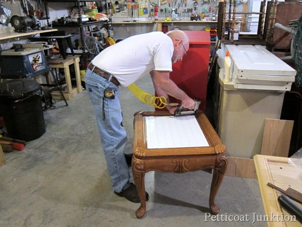 wood replacement table top nail gun project Petticoat Junktion