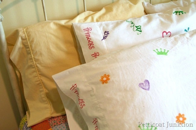 colorful stamped pillowcases Petticoat Junktion