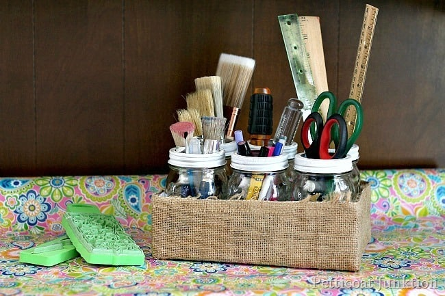 diy mason jar craft organizer Pettiocoat Junktion project