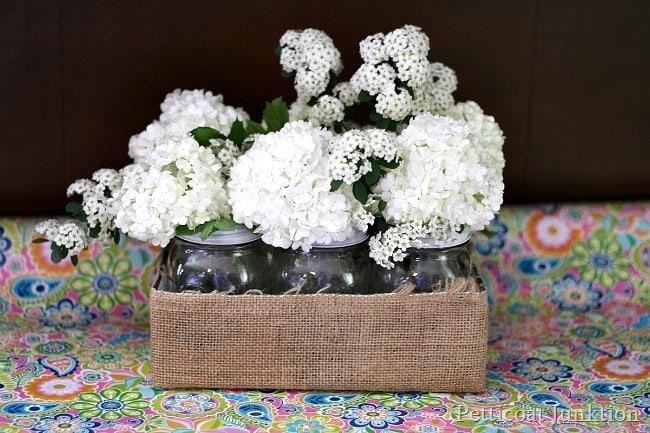 mason jar burlap wrapped flower caddy Petticoat Junktion