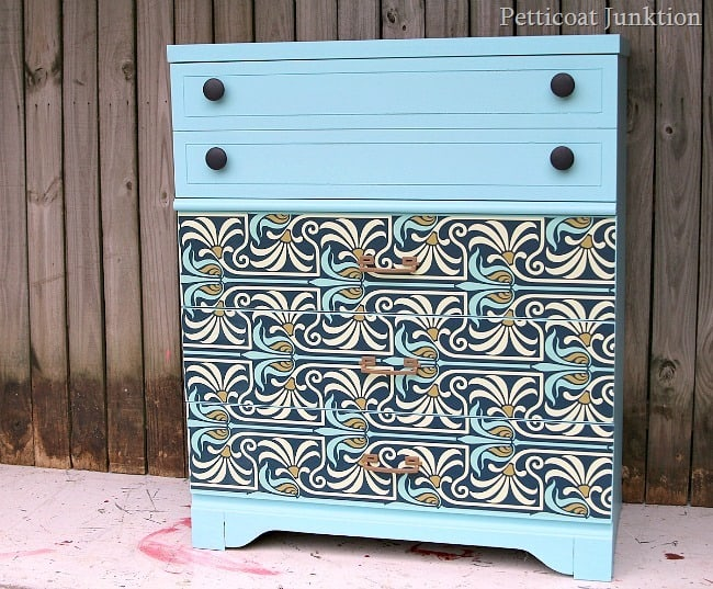 modern furniture makeover with Art Nouveau Flair Petticoat Junktion project