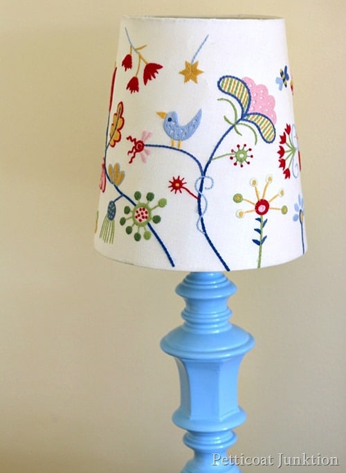 spray paint a brass lamp and add an Ikea lamp shade Petticoat Junktion project