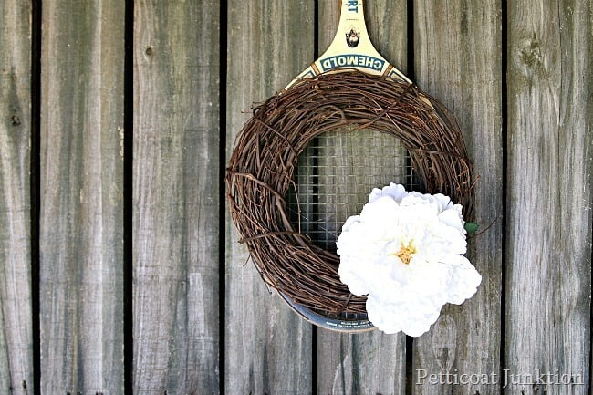 tennis racket spring wreath Petticoat Junktion project