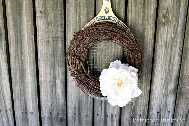 tennis racket spring wreath hanger Petticoat Junktion