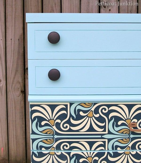 wallpaper decoupage furniture makeover Petticoat Junktion