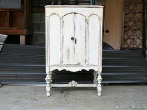 Antique Finish | White Paint Distressed | Radio Cabinet Redo