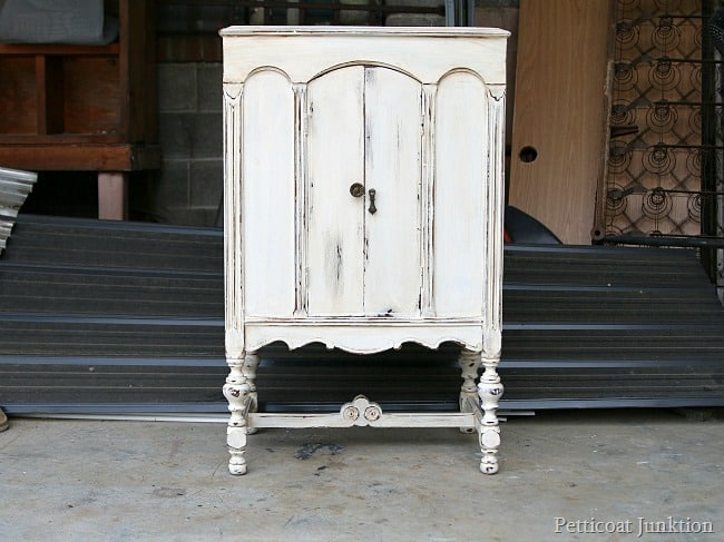 White Paint Heavily Distressed Radio Cabinet Redo Petticoat Junktion