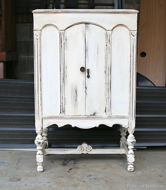 White Radio Cabinet With Heavily Distressed paint Petticoat Junktion