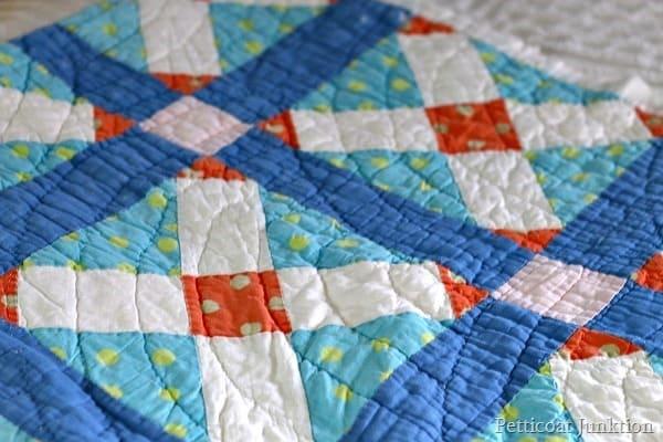 patchwork quilt colors blue and orange petticoat Junktion