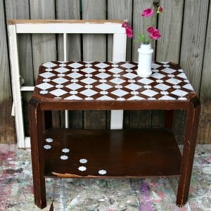 Plum Cute Stenciled Table | Themed Furniture