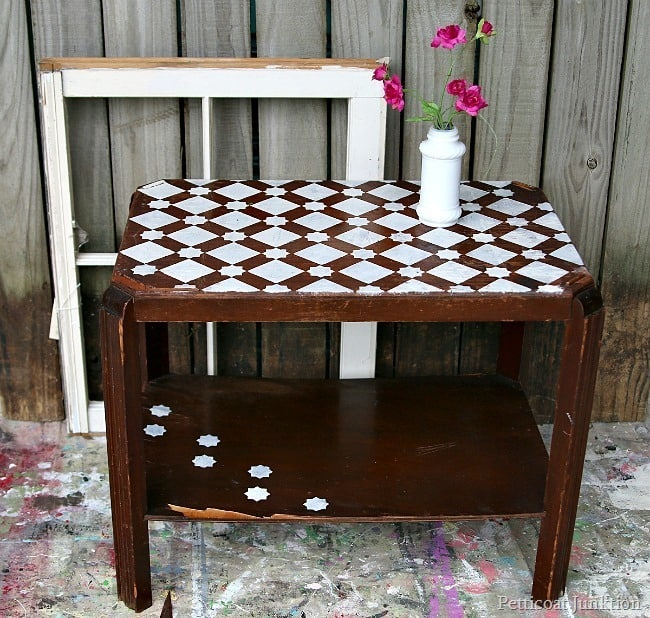 plum cute stenciled table Petticoat Junktion themed furniture makeover