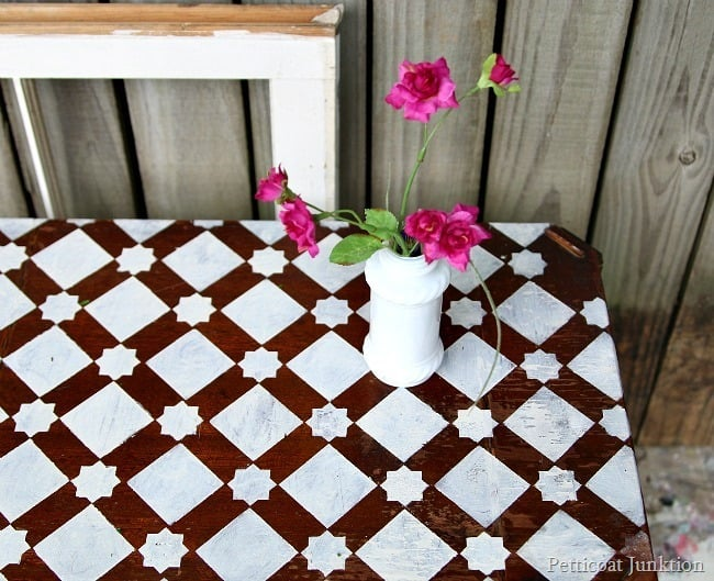 stenciled table Petticoat Junktion