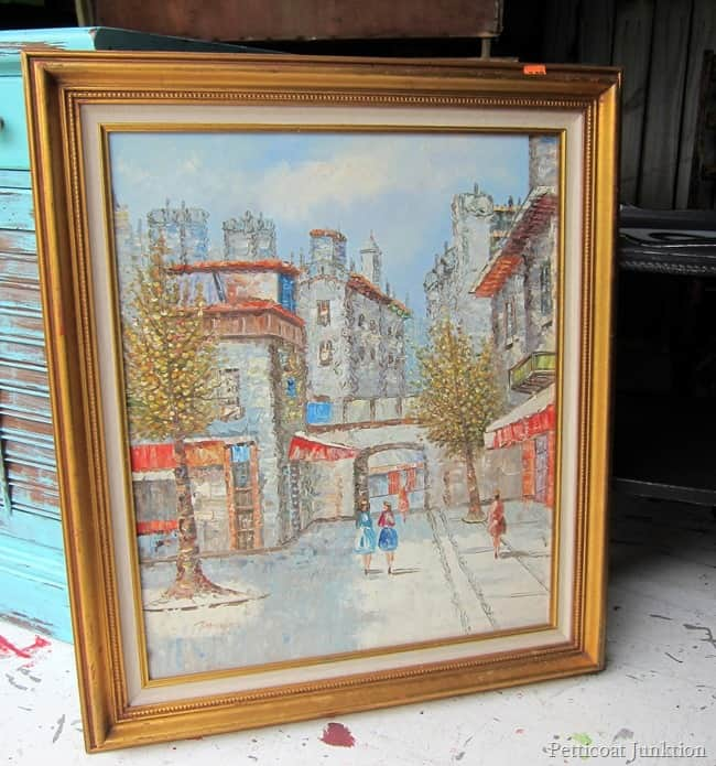 thrift store framed canvas painting