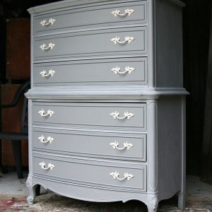Gray Painted Furniture With Spray Painted Hardware