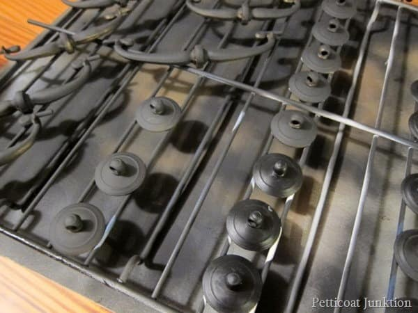 Spray Paint hardware on a wire rack Petticoat Junktion
