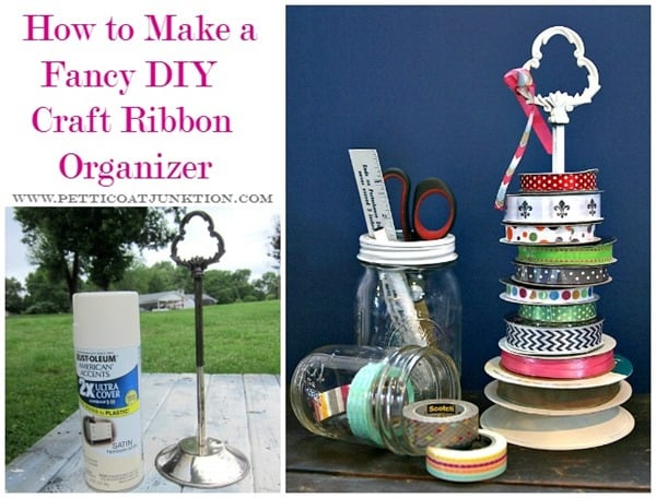 how to make a fancy diy craft ribbon organizer Petticoat Junktion