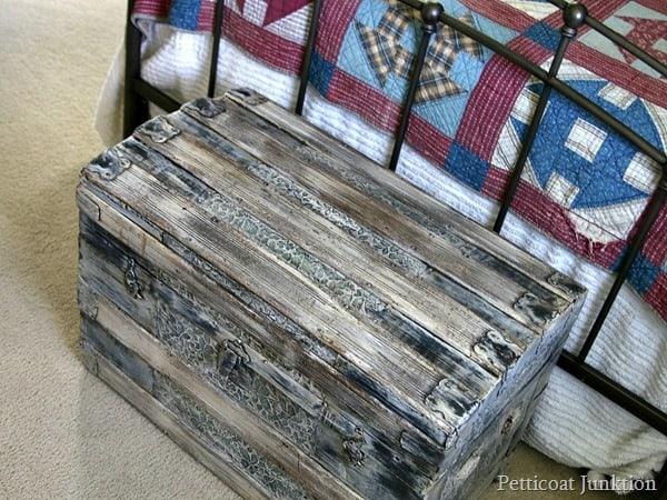 paint an antique trunk Petticoat Junktion rustic furniture theme