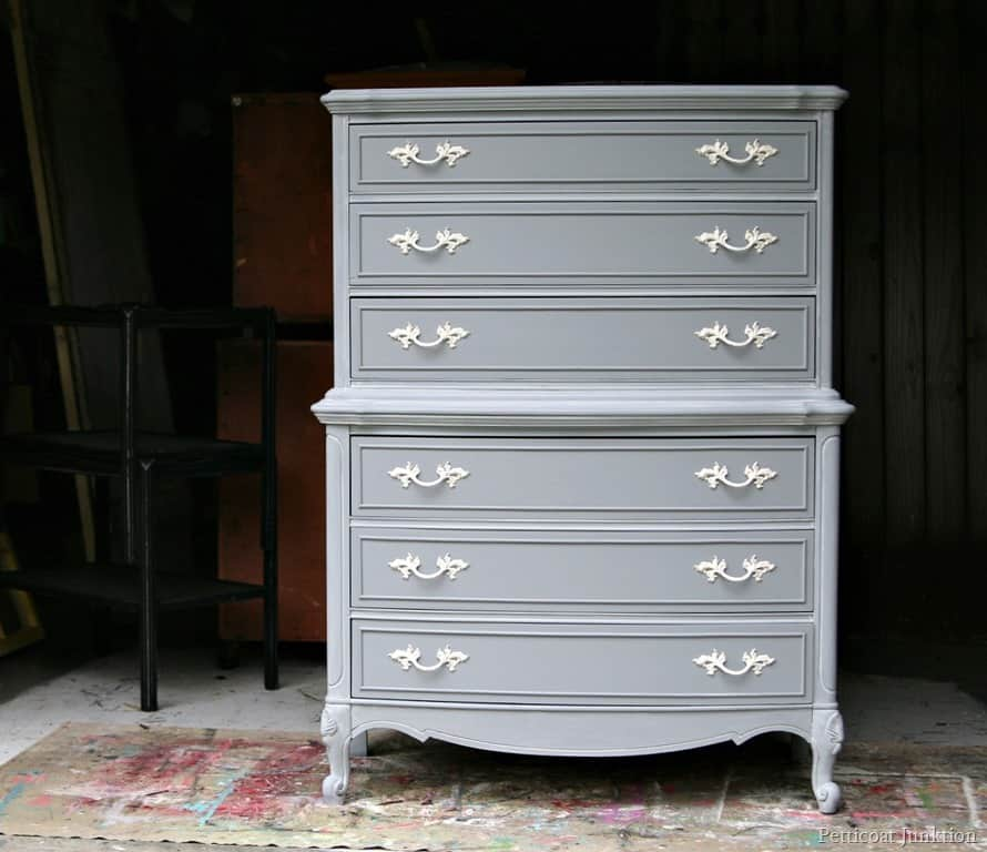 Gray furniture with spray painted hardware for Spray paint bedroom furniture