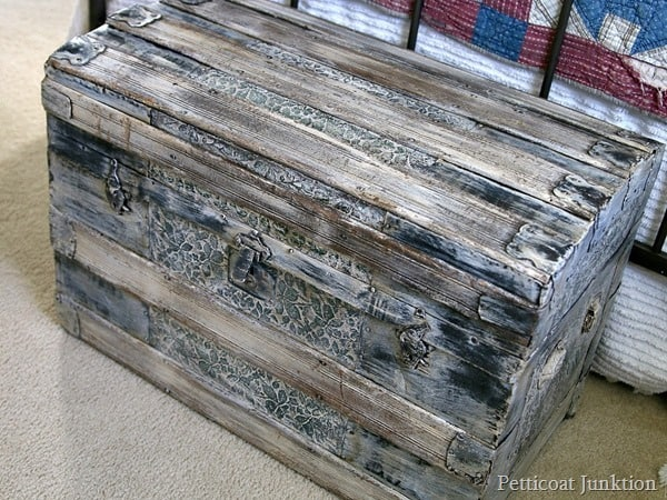 rustic themed furniture Petticoat Junktion painted trunk