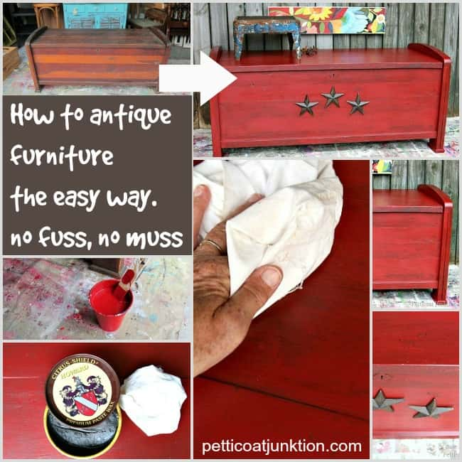 How to antique furniture the easy way Petticoat Junktion collage