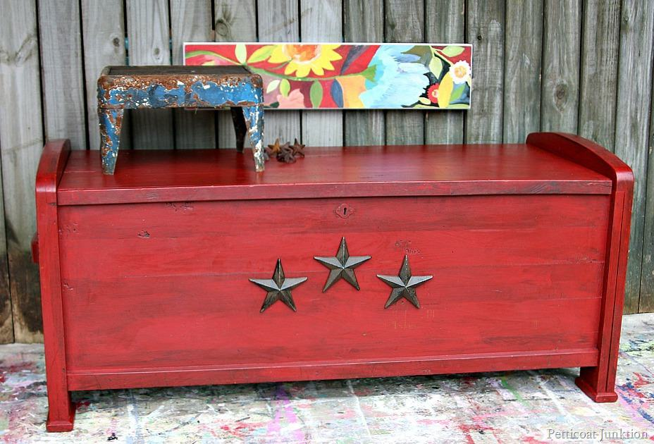 Antiqued Red Cedar Chest Adorned With Iron Stars Petticoat