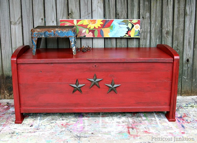 antiqued red cedar chest with iron stars Petticoat Junktion