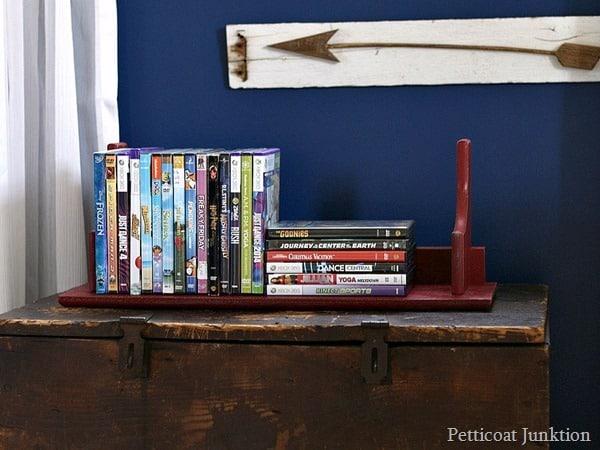 dvd organizer thrift store shelf flip Petticoat Junktion