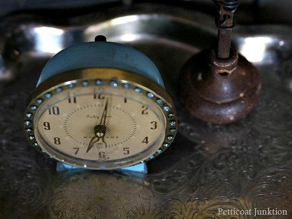 vintage westclox turquoise alarm clock Petticoat Junktion
