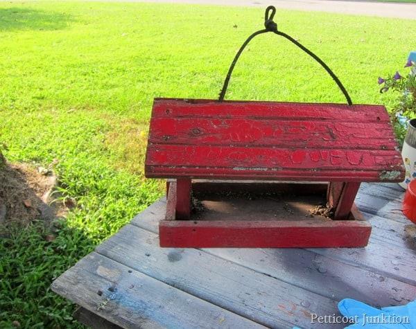 red bird feeder Petticoat Junktion