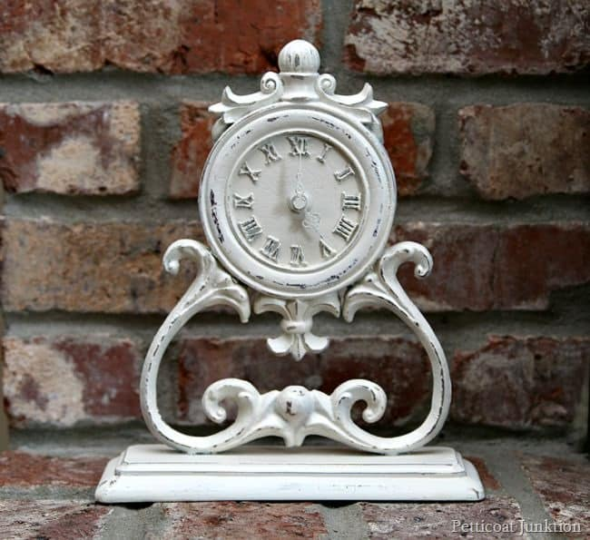 white spray paint clock makeover Petticoat Junktion