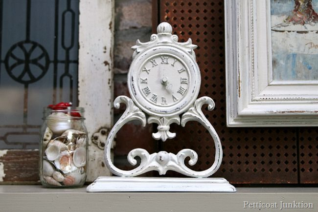 white spray paint project clock makeover Petticoat Junktion