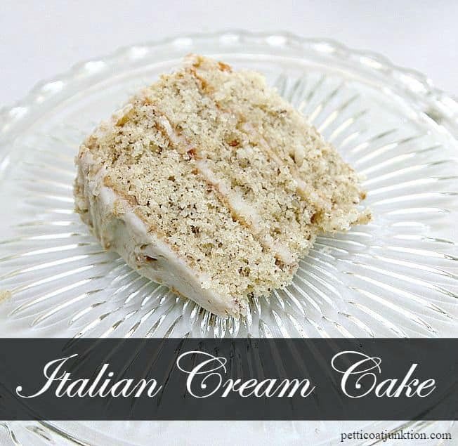 Italian Cream Cake Recipe from Petticoat Junktion blog