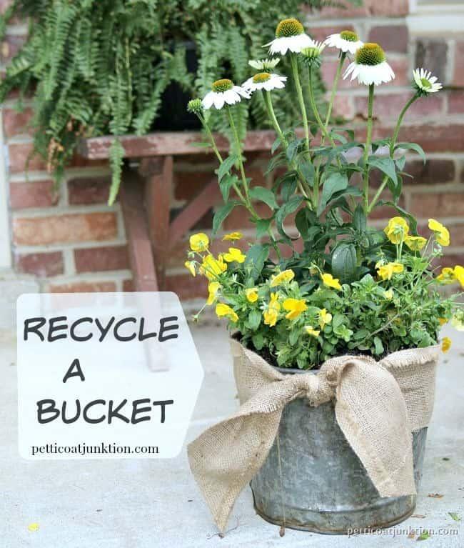 Recycle a bucket flower pot Petticoat Junktion 1