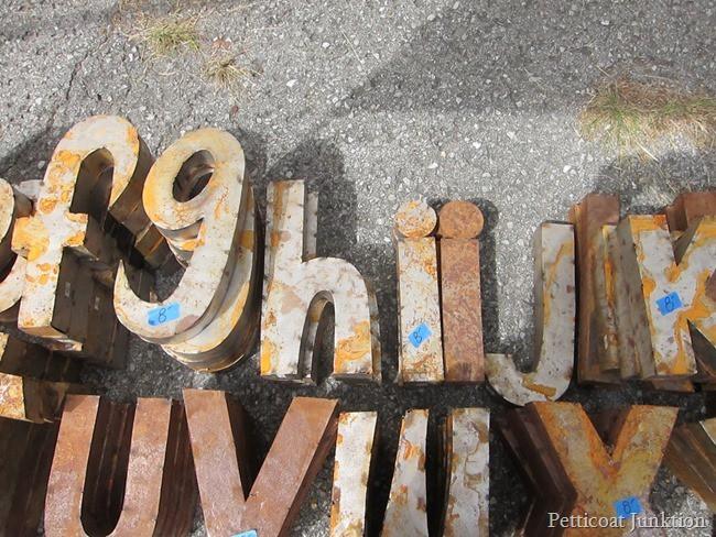 Rusty Metal letters Petticoat Junktion shopping trip Nashville Flea Market 2