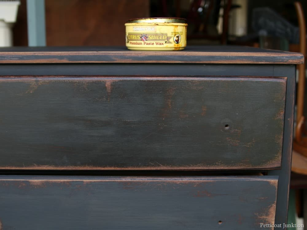 applying dark wax Petticoat Junktion - How To Make New Furniture Look Old In Five Easy Steps