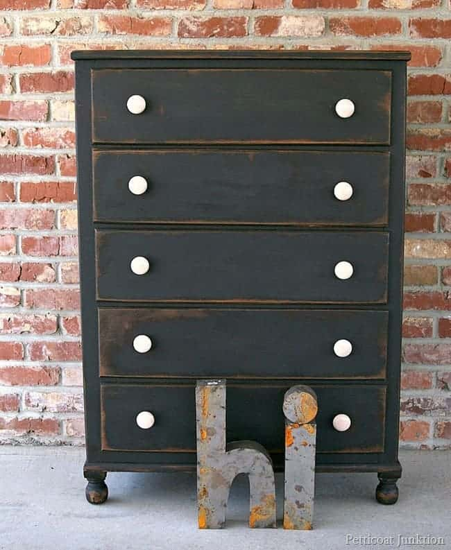 distressed Black painted chest Petticoat Junktion