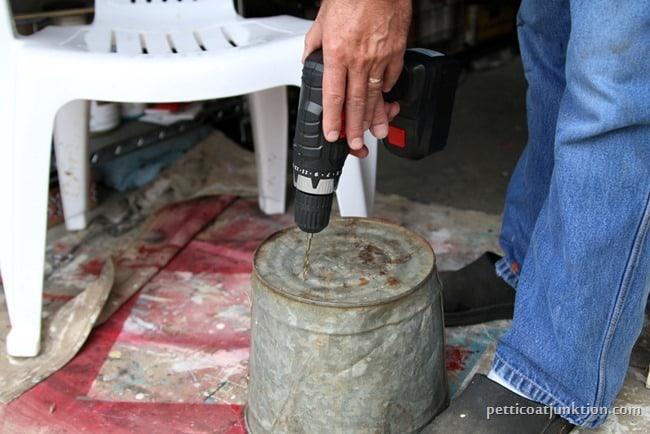 drilling drain holes in flower pot Petticoat Junktion