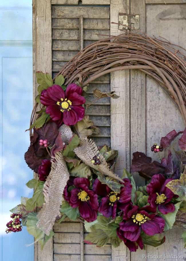 purple flowers fall shutter wreath Petticoat Junktion
