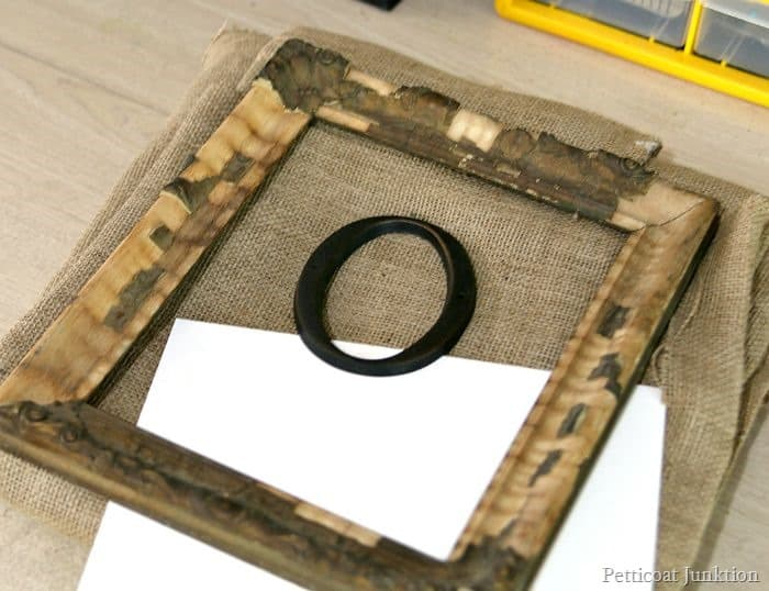 Simple supplies for framed burlap monogram wall art