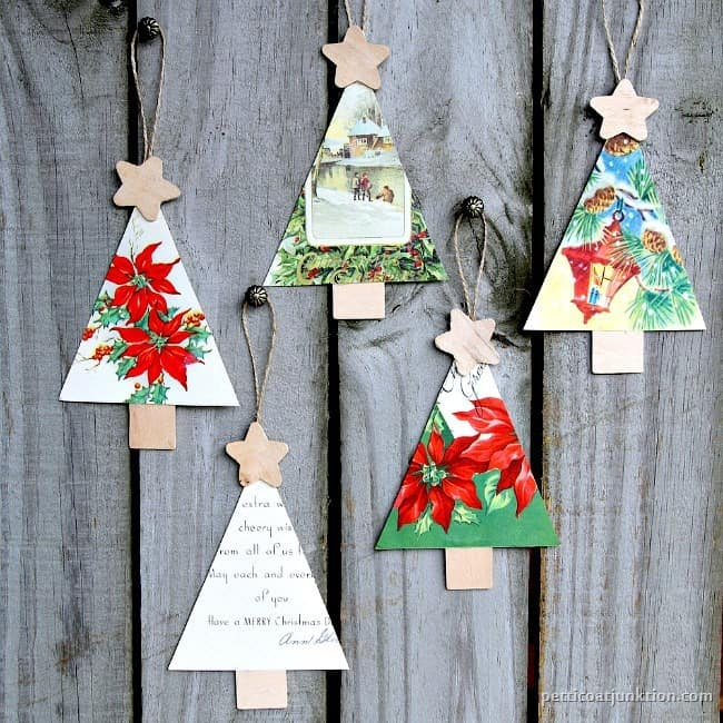 christmas tree ornaments handmade from vintage cards petticoat junktion - Christmas Tree Ornaments To Make