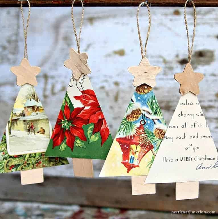 how to make vintage christmas card ornaments for the tree - Vintage Christmas Tree Ornaments